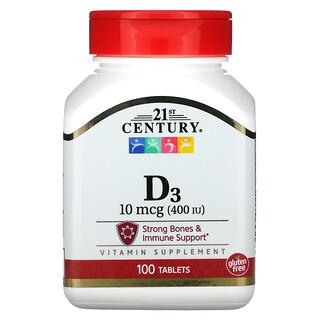 21st Century, VitaminaD3, 10mcg (400UI), 100comprimidos