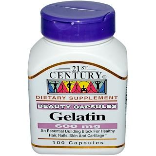 21st Century, Gelatin, 600 mg, 100 Capsules
