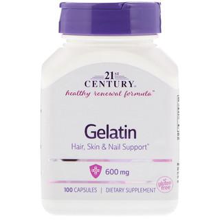 21st Century, Gélatine, 600 mg, 100 Comprimés
