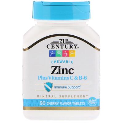 21st Century цинк с витаминами групыC и B6, со вкусом вишни, 90жевательных таблеток