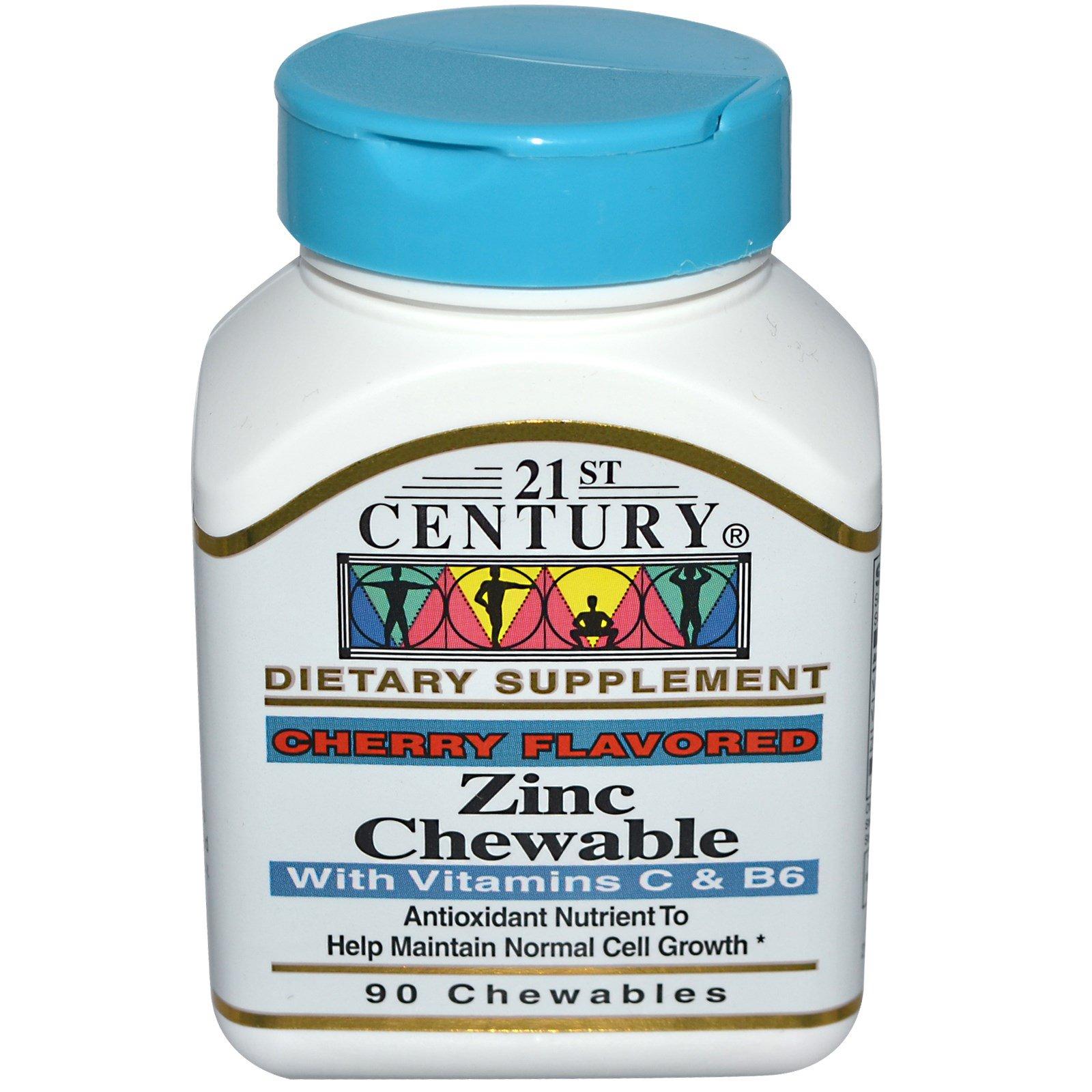21st Century, Цинк, жевательные таблетки, с ароматом вишни, 90 жевательных таблеток