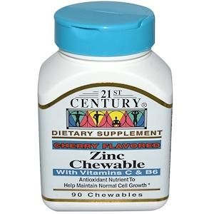 21st Century, Цинк, жевательные таблетки, с ароматом вишни, 90 жевательных таблеток купить на iHerb