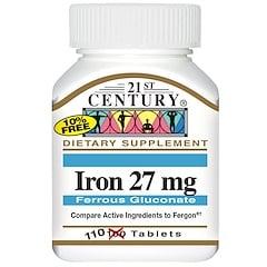 21st Century, Iron, 27 mg, 110 Tablets