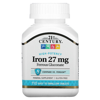 21st Century, High-Potency Iron, 27 mg, 110 Easy to Swallow Tablets