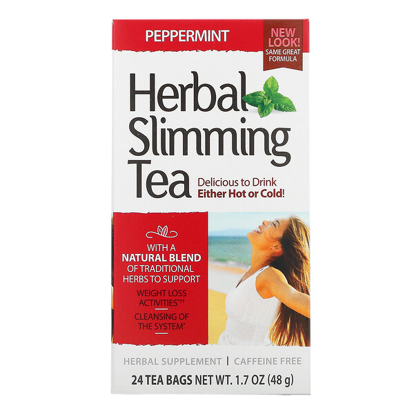 Herbal Slimming Tea, Peppermint, Caffeine Free, 24 Tea Bags, 1.7 oz (48 g)