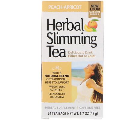 Травяной чай для похудения, Персик-абрикос, без кофеина, 24 пакетика, 1,6 унции (45 г)