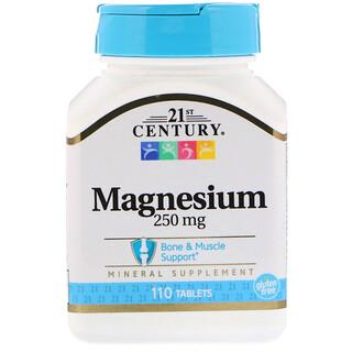 21st Century, Magnesio, 250 mg, 110 Comprimidos