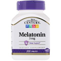 21st Century, Melatonina, 3 mg, 200 Comprimidos