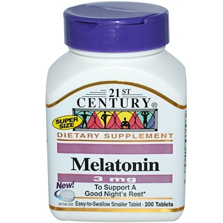 21st Century, Melatonin, 3 mg, 200 Tablets