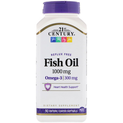 Fish Oil, Reflux Free, 1,000 mg, 90 Enteric Coated Softgels недорого