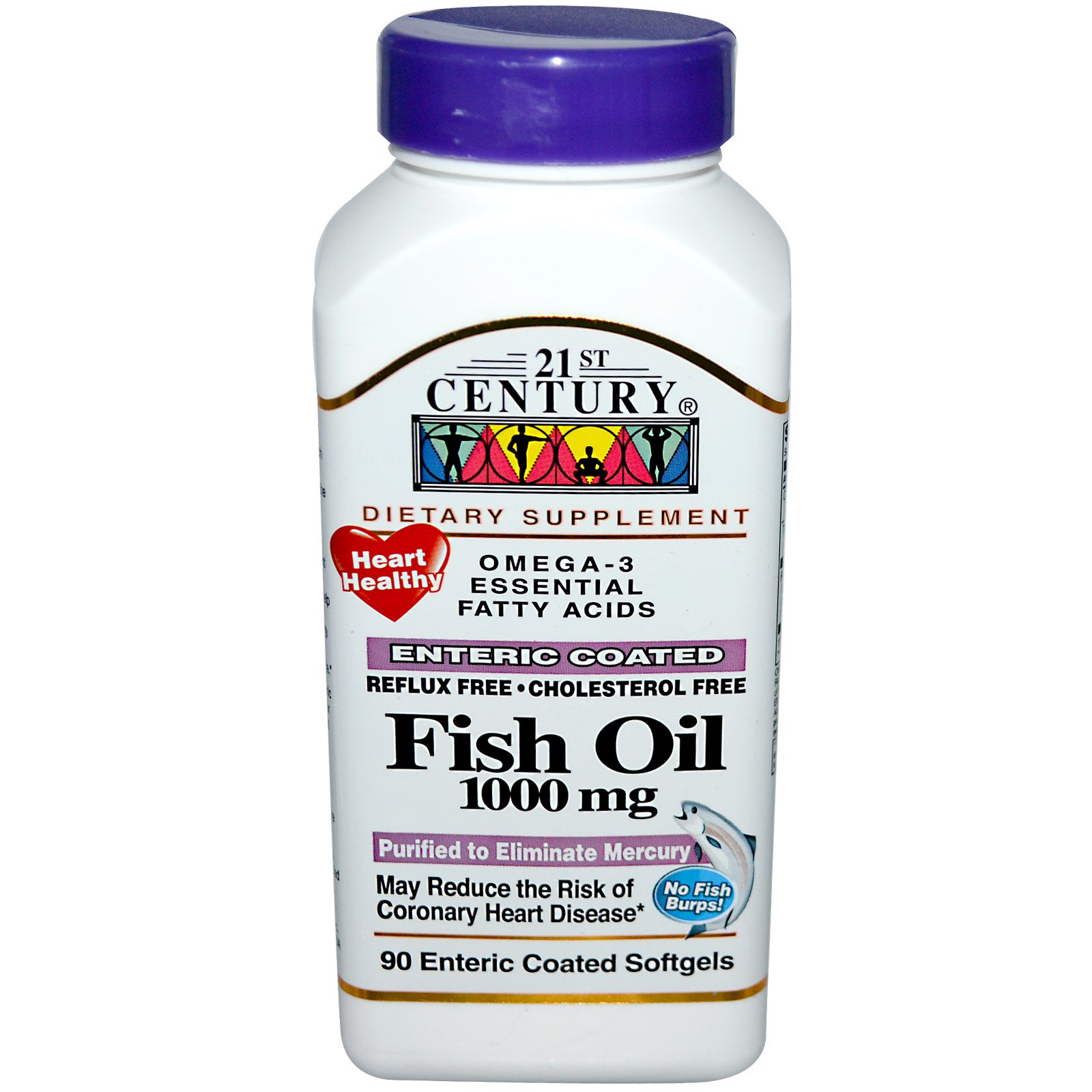 21st century fish oil 1000 mg 90 enteric coated for Enteric coated fish oil