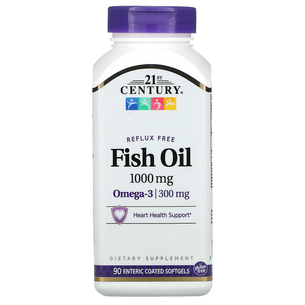 21st Century, Fish Oil, Reflux Free, 1,000 mg, 90 Enteric Coated Softgels (Discontinued Item)
