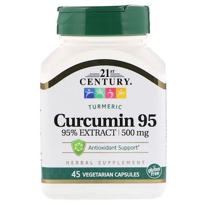 Купить 21st Century Куркумин 95, 500 мг, 45 вегетарианских капсул