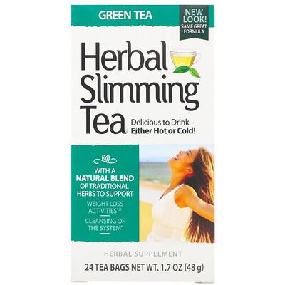 Травяной чай для похудения, зеленый чай, без кофеина, 24чайных пакетика, 45г (1,6унции)