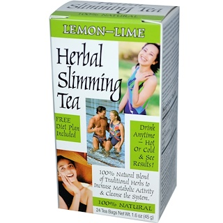21st Century, Herbal Slimming Tea, Lemon-Lime, 24 Tea Bags, 1.6 oz (45 g)