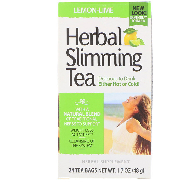 Herbal Slimming Tea, Lemon-Lime, Caffeine Free, 24 Tea Bags, 1.7 oz (48 g)