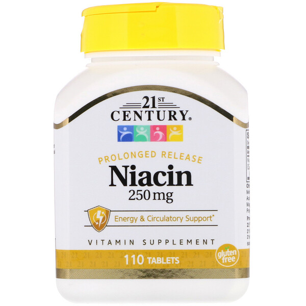 21st Century, Niacin, Prolonged Release, 250 mg, 110 Tablets
