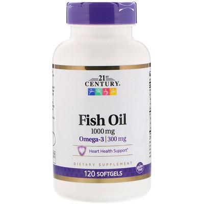 Купить 21st Century Рыбий жир, 1000 мг, 120 мягких желатиновых капсул