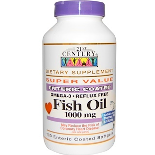 21st Century, Fish Oil, 1000 mg, 180 Enteric Coated Softgels