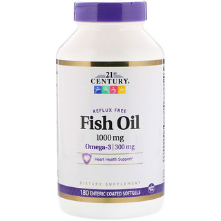 21st Century, Fish Oil Reflux Free, 1000 mg, 180 Enteric Coated Softgels