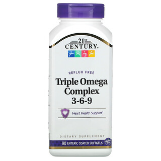 21st Century, Triple Omega Complex 3-6-9, 90 Enteric Coated Softgels