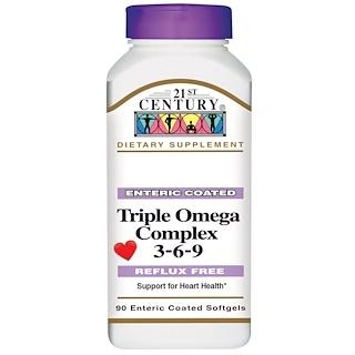 21st Century, Complejo Omega Triple 3-6-9, 90 Softgels de cubierta entérica