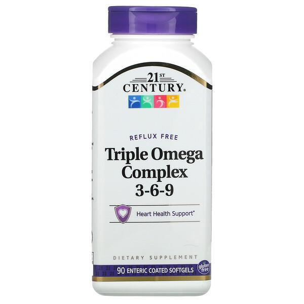 Triple Omega Complex 3-6-9, 90 мягких желатиновых капсул с кишечнорастворимой оболочкой