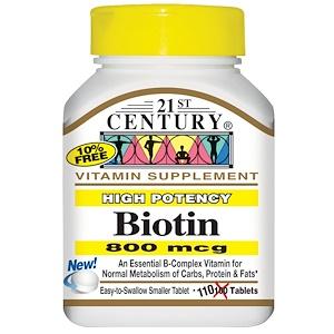 21st Century, Биотин, сильное действие, 800 мкг, 110 таблеток