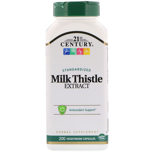 21st Century, Milk Thistle Extract, Standardized, 200 Vegetarian Capsules