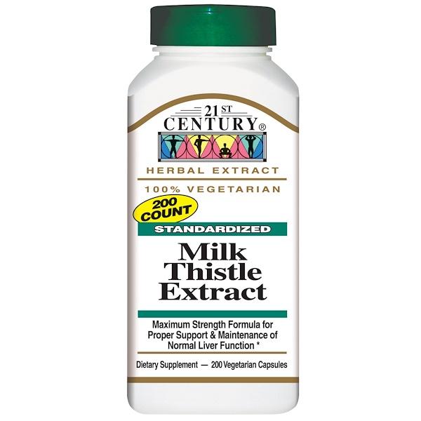 21st Century, Milk Thistle Extract, Standardized, 200 Veggie Caps