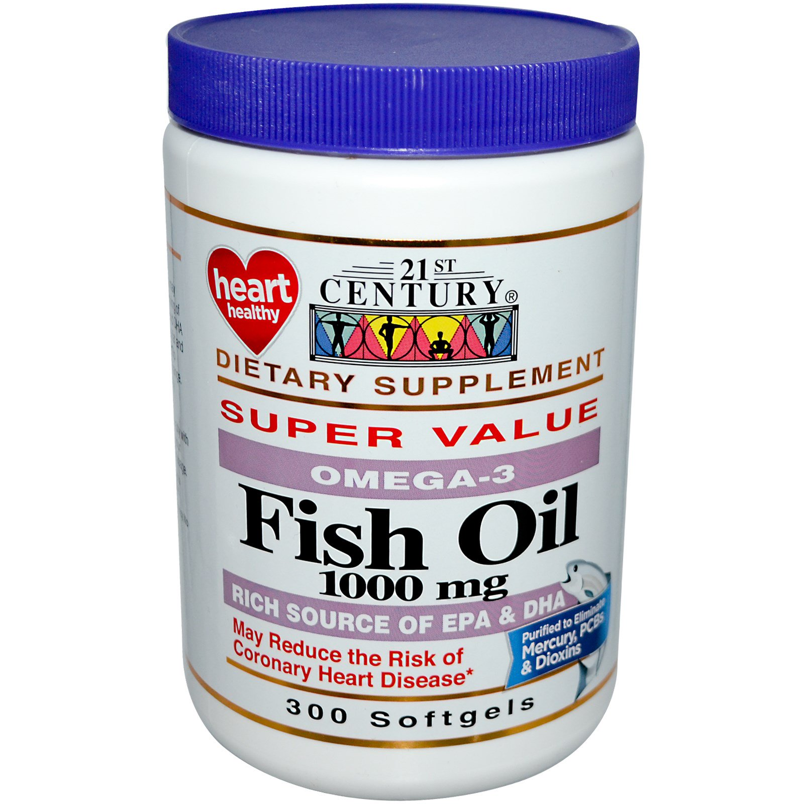 21st century fish oil omega 3 1000 mg 300 softgels for Fish oil 1000 mg