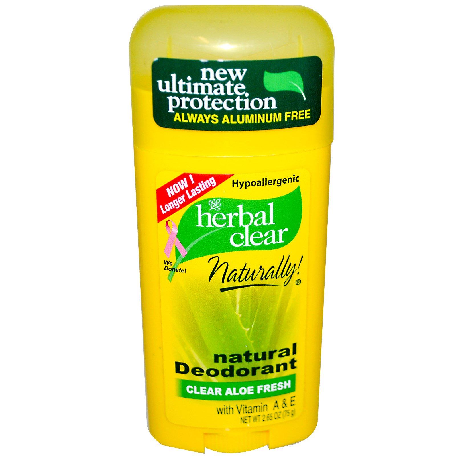 21st Century, Травяное очищение, натуральный дезодорант, свежесть чистого алоэ, 2.65 унций (75 г)