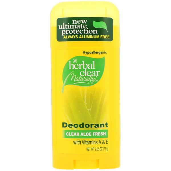21st Century, Herbal Clear Naturally!, Deodorant, Clear Aloe Fresh, 2.65 oz (75 g)