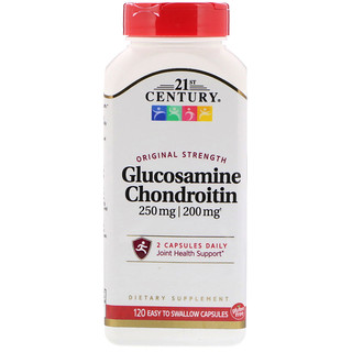 21st Century, Glucosamine 250 mg Chondroitin 200 mg  Original Strength, 120 Easy to Swallow Capsules