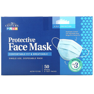21st Century, Protective Face Mask, ASTM F2100, Single Use Disposable Masks, 50 Masks, 5-10 ct Packs