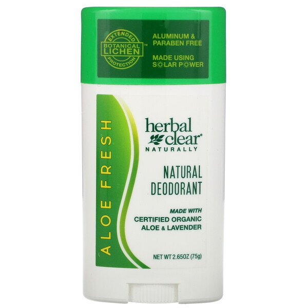 21st Century, Herbal Clear Naturally,  Natural Deodorant, Aloe Fresh, 2.65 oz (75 g)