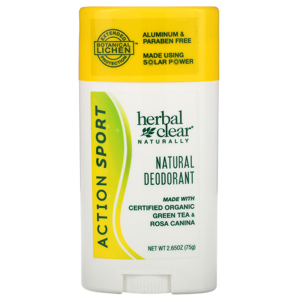 Herbal Clear Naturally, Natural Deodorant, Action Sport, 2.65 oz (75 g)