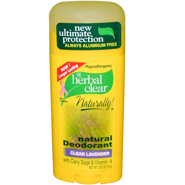 21st Century, Herbal Clear Naturally, Natural Deodorant, Clear Lavender, 2.65 oz (75 g) (Discontinued Item)