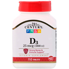 21st Century, D3, 25 mcg (1000 IU), 110 Tablets