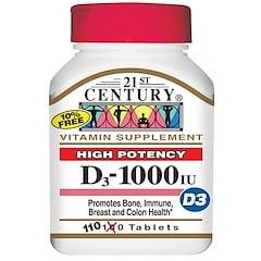 21st Century, Vitamin D3, hochpotenziert, 1000 IU, 110 Tabletten