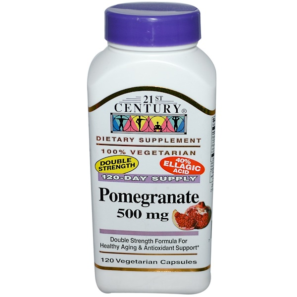 21st Century, 石榴纖維素膠囊 500 mg, 120粒