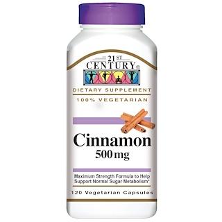 21st Century, Cinnamon, 500 mg, 120 Veggie Caps