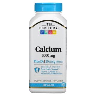 21st Century, Calcium Plus D3, 1,000 mg, 90 Tablets