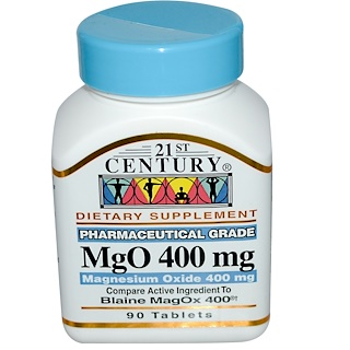 21st Century, MgO, Magnesium Oxide, 400 mg, 90 Tablets