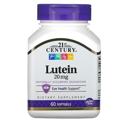 Купить 21st Century Лютеин, 20 мг, 60 гелевых капсул