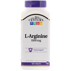 21st Century, L-аргинин, 1 000 мг, 100 таблеток