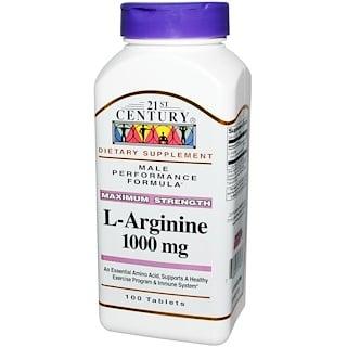 21st Century, L-Arginine, Force maximale, 1 000 mg, 100 Tablettes