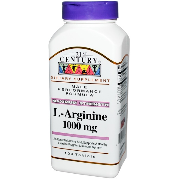 21st Century, L-Arginine, Maximum Strength, 1000 mg, 100 Tablets