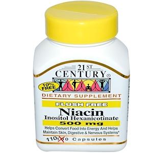 21st Century, Ниацин (гексаникотинат инозитола), 500 мг, 110 капсул