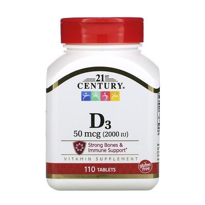 Купить 21st Century витаминD3, 50мкг (2000МЕ), 110таблеток